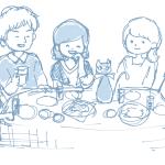 交流サロンTAKIBIに、カフェ会のイラストの下書きができました~!
